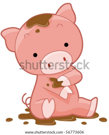 Cute Pig - Vector - stock vector