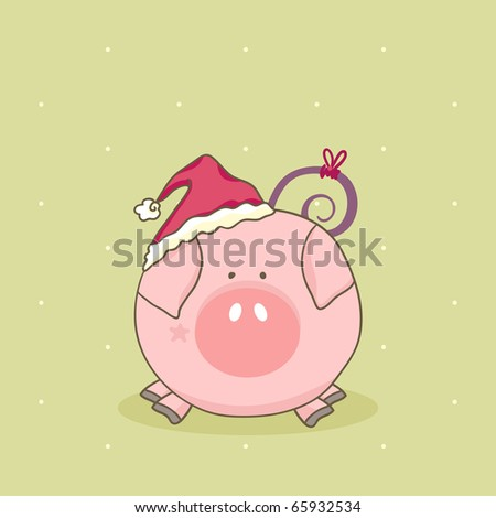 Cute Pig Logo Cute Pig With Santa Hat
