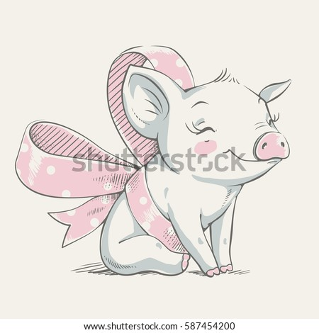 Cute piggy with a bow cartoon hand drawn vector illustration. Can be used for baby t-shirt print, fashion print design, kids wear, baby shower celebration greeting and invitation card.