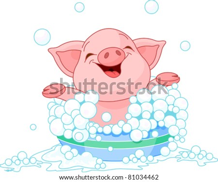 cute piglet taking a bath