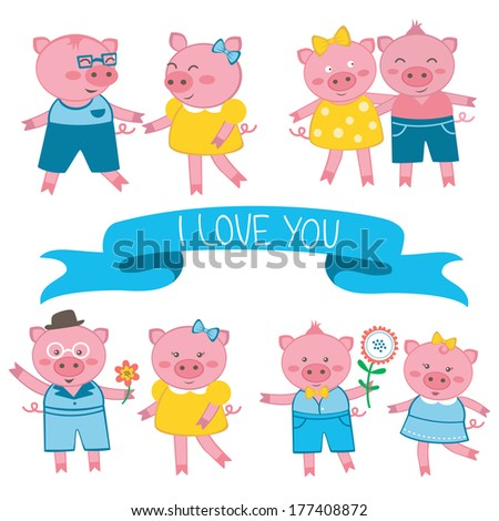 cute pigs in love couples