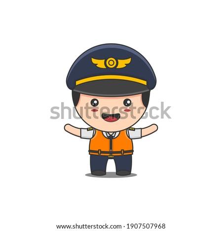 cute pilot character wearing