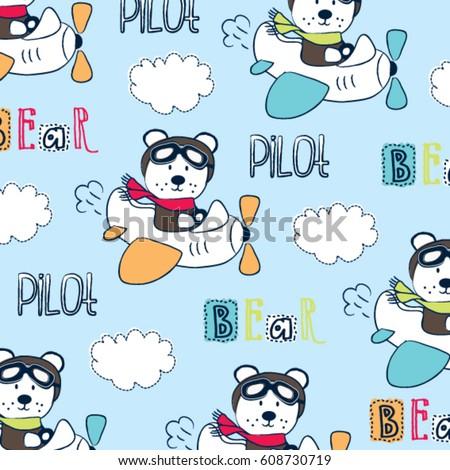 cute pilot teddy bear cartoon