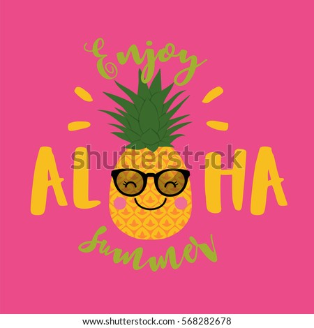 Cute pineapple cartoon illustration for summer holidays