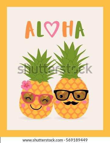 cute pineapple couple cartoon
