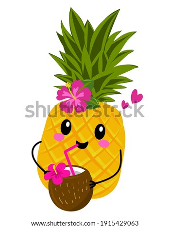Cute pineapple fruit with coconut cocktail. Funny cartoon doodle draw. Hand drawn lettering for Valentine's Day greetings cards, invitation. Love Summer days. Summer vacation on the beach. Kid clothes Foto stock ©
