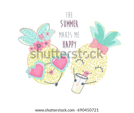 cute pineapple illustration vector graphic