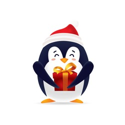 Cute pinguin with red cap carrying a gift box for Christmas with isolated background