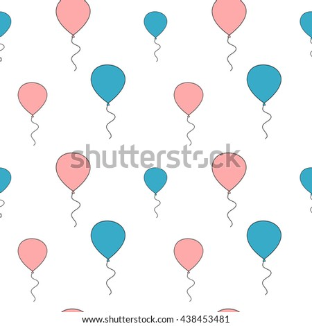 cute pink and blue balloon seamless vector pattern background illustration