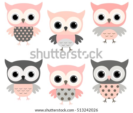 cute pink and grey cartoon owls