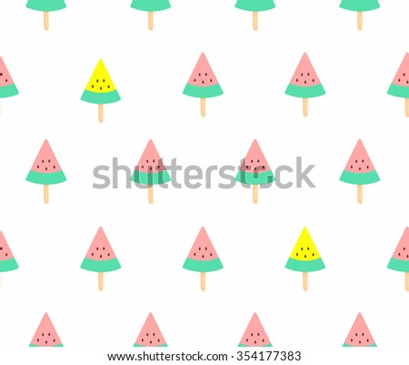 Cute Pink And Yellow Watermelon Ice Cream On White Background Seamless Pattern Wallpaper Vector Art