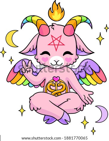 Cute pink Baphomet with pentagram, fire and crescent moons. Goat as satanism symbol. Isolated vector illustration.