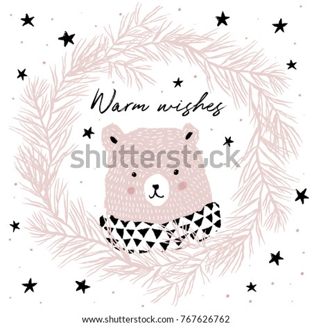 Cute pink bear in pine wreath with quote Warm wishes. Xmas design for the poster, greeting card. Vector hand drawn illustration. Forest animal on the white background with snow and black stars.