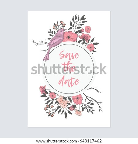 cute  pink birds with flowers