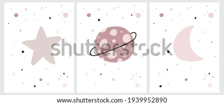 Cute Pink Cosmos Vector Illustrations. Simple Hand Drawn Galaxy Print for Wall Art, Poster, Card. Infantile Style Cosmos with Little Stars, Moon and Platens Isolated on a White Background. Stockfoto ©