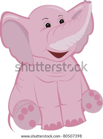 Cute pink elephant calf isolated on a white background