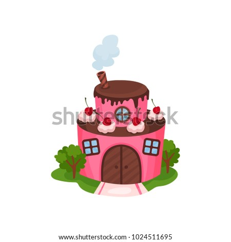 cute pink house in form of two