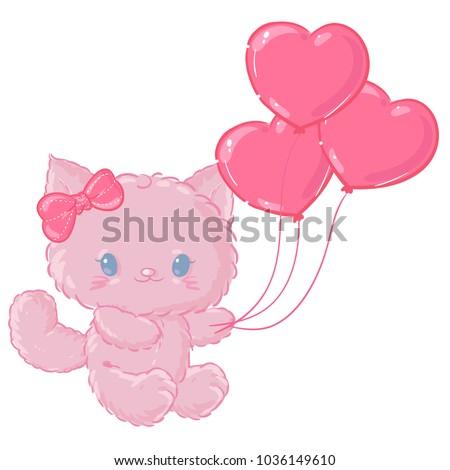 cute pink kitten valentine's