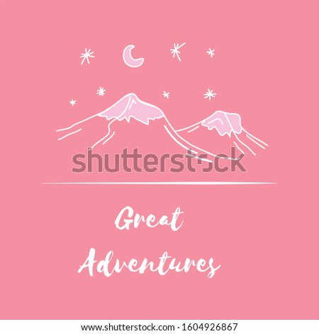 Cute pink mountain scene in handdrawn doodle style for great adventures