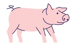 Cute pink pig side view flat vector illustration. Livestock farming, domestic animal husbandry design element with outline. Pork meat production logo. Cartoon piglet, swine isolated on white