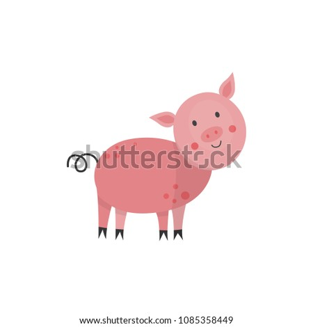cute pink pig with twisted tail ...