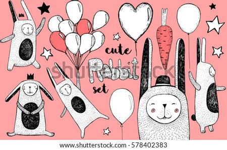 cute pink rabbit and balloons