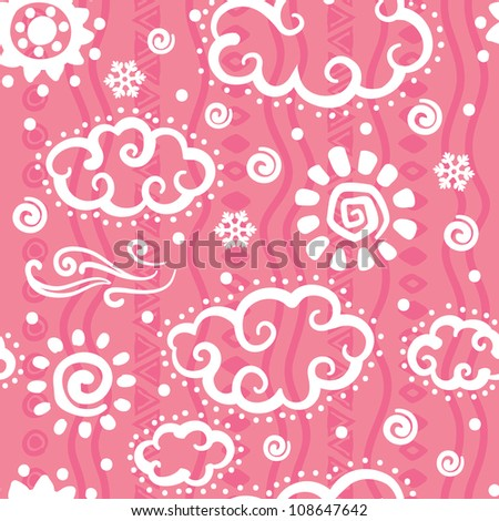 Cute Pink Weather pattern on the pink background