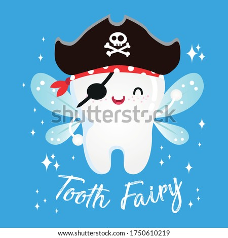 Cute pirate fairy tooth vector cartoon illustration for oral dental hygiene, kawaii character: Series smiling teeth- card and Print for t-shirt.