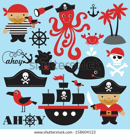 cute pirate objects collection