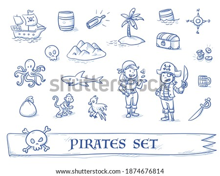cute pirate's icon set  with