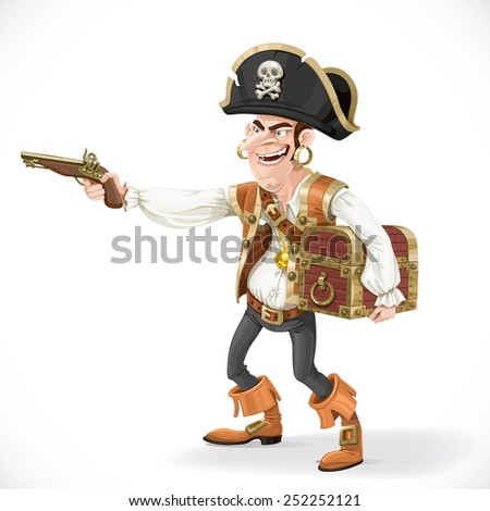 cute pirate take aim a pistol