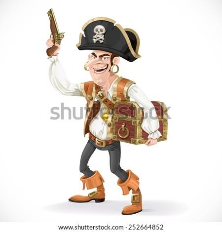 cute pirate with a gun pressed