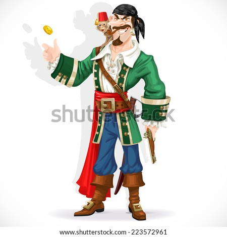 cute pirate with monkey throw