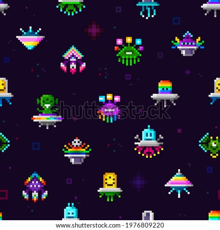 Cute pixel art ufo space ships and rainbow alien monsters vector endless pattern template. Set of 8 bit pixelated ufo robots characters on space background. Cute pattern for print fabric, wallpaper