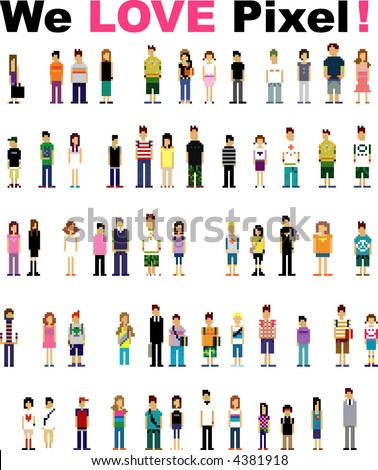 cute pixel people - stock vector