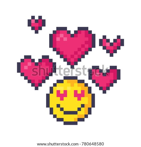 Cute pixel smiley emoticon in love. Pixel art vector illustration.