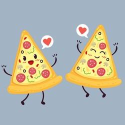 Cute pizza slice. Cartoon colorful design. Vector illustration