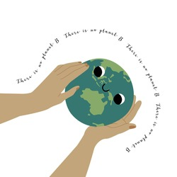 Cute planet Earth character with smiling face. Kawaii globe. Funny celestial body. Hands hold our planet. Happy Earth Day, Earth Hour, environment safety celebration. Vector flat cartoon illustration