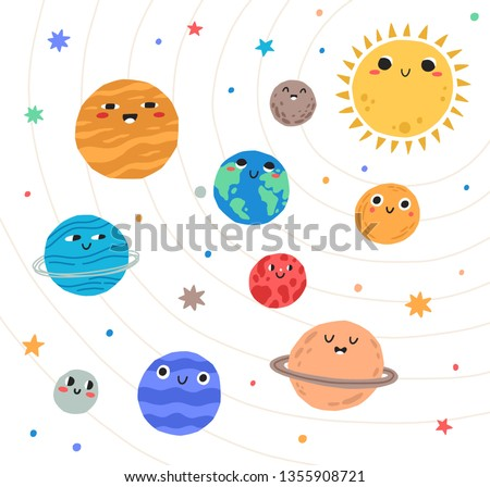 Cute planets of Solar system with happy faces. Funny celestial objects in outer space. Pretty astronomical bodies orbiting Sun. Astronomy for children. Childish flat cartoon vector illustration.