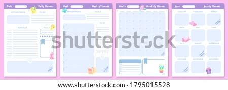 Cute planner templates. Daily, weekly, monthly and yearly planners. Schedule page journal, stationery calendar monthly, organizer diary. Vector illustration Foto stock ©