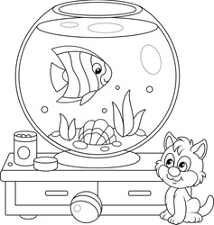 Cute playful kitten watching a funny striped butterfly fish swimming in a home round home aquarium with a sea shell and seaweeds, black and white outline vector cartoon illustration
