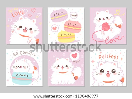 Cute playful persian cat white furry fluffy, meow! in soft pastel color. Set of square gift tag, card, postcard. Lovely, funny, so comfy. Vector illustration.