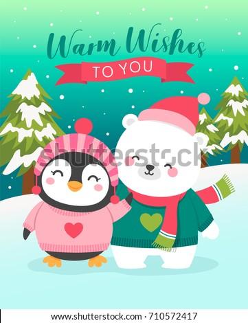 Cute polar bear and penguin cartoon illustration for christmas and new year