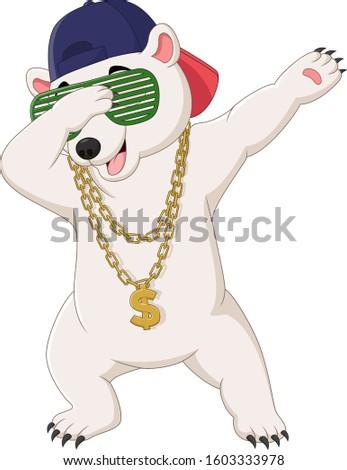 cute polar bear dabbing dance
