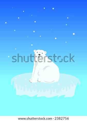 Cute Polar bear on an iceberg - stock vector