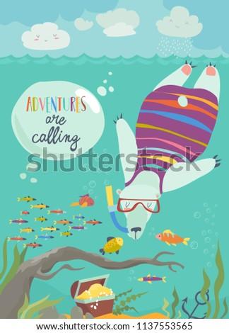 cute polar bear snorkeling and