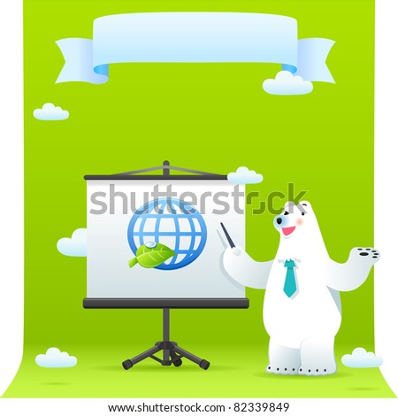 cute polar bear with ECO element.Vector illustration with simple gradients.