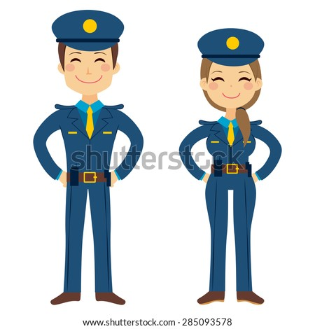 cute police man and woman