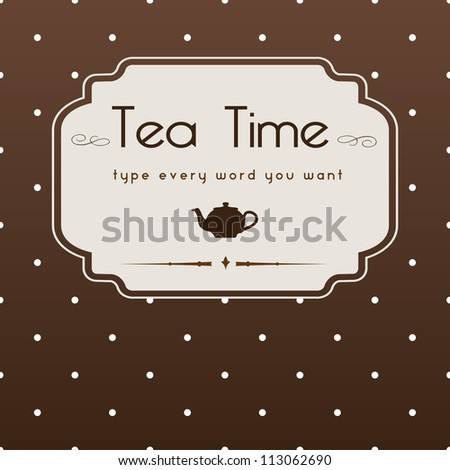 cute polka dot brown tea time background print - stock vector
