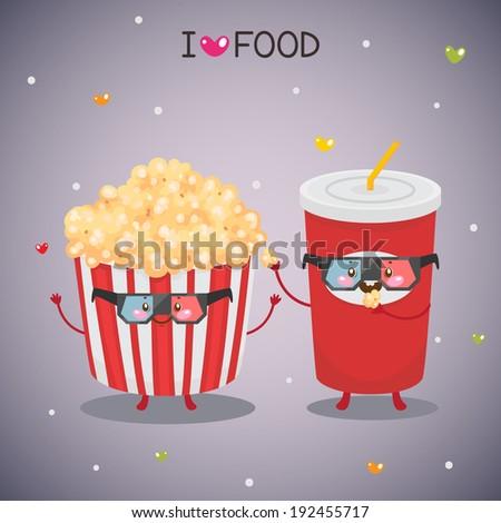 Cute popcorn and soda in the cinema